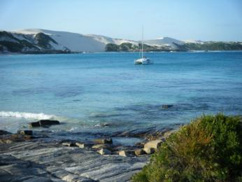Butty Harbour 20 miles from Esperance.  Sand dunes or winter snow?