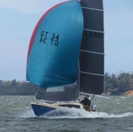 Le Petit Voilier Bleu flies in div race on 14 Dec