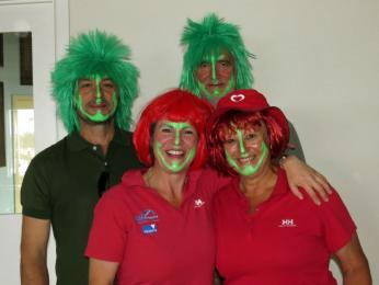 Jenny and Kelvin and friends dress as port and starboard for the charity day