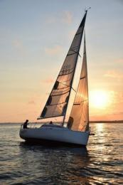 Last Twilight sail; no wind but a beautiful sunset.  Photo by Mary Sowa